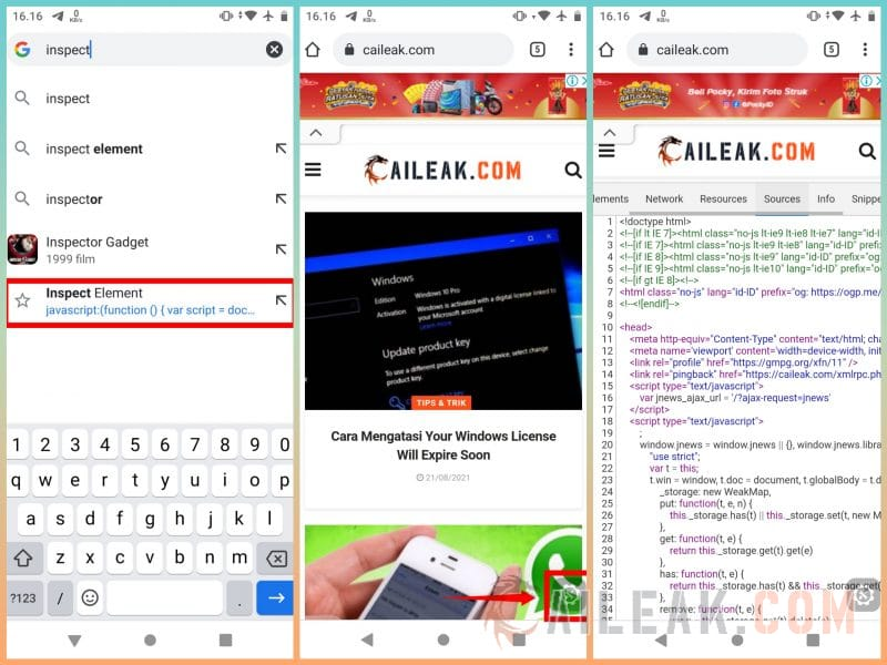 Cara Inspect Element Chrome Android